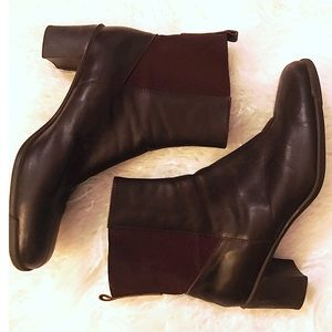 Aerosoles Deep Chocolate Brown Leather Ankle Boots